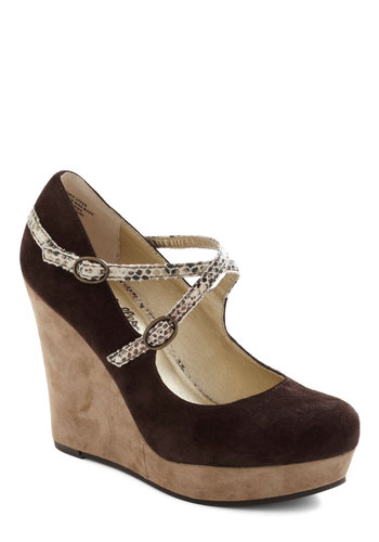 Top Ten Wedge by Seychelles - Wedge, Brown, Tan / Cream, Animal Print, High, Leather, Casual, Girls Night Out, Urban