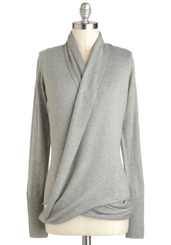 Architect's Message Cardigan in Fog - Grey, Solid, Casual, Long Sleeve, Mid-length, Rustic