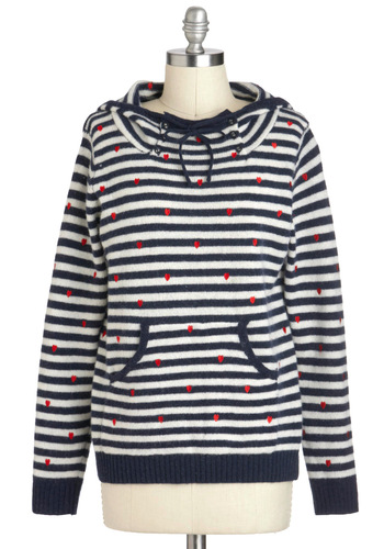 Breton Vacation Sweater - Red, Blue, White, Stripes, Buttons, Casual, Nautical, Hoodie, Long Sleeve