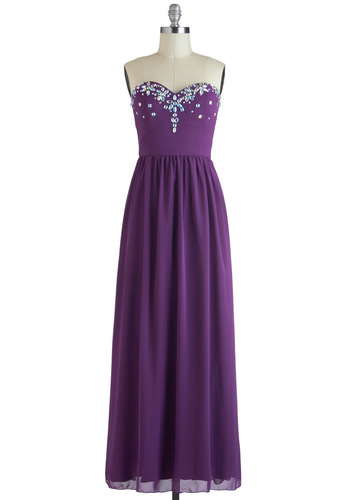 Too Jewel for School Dress - Long, Purple, Solid, Rhinestones, Formal, Strapless, Sweetheart, Holiday Party, Maxi, Prom