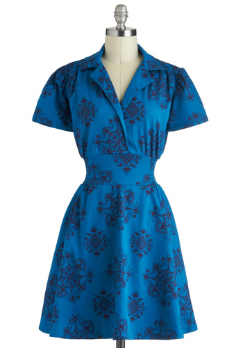 One to Watch Dress - Blue, Print, Casual, A-line, Short Sleeves, Cotton, Black, Pockets, Collared, Work, Shirt Dress, Mid-length