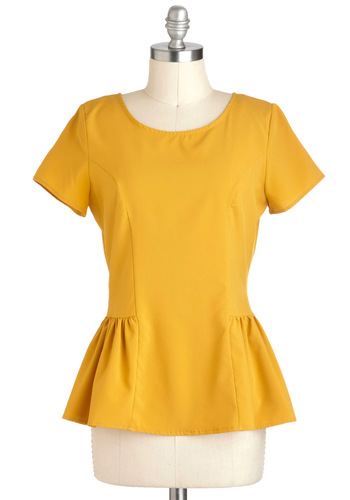 I Saw the Sun Top - Yellow, Solid, Work, Peplum, Short Sleeves, Mid-length, Variation