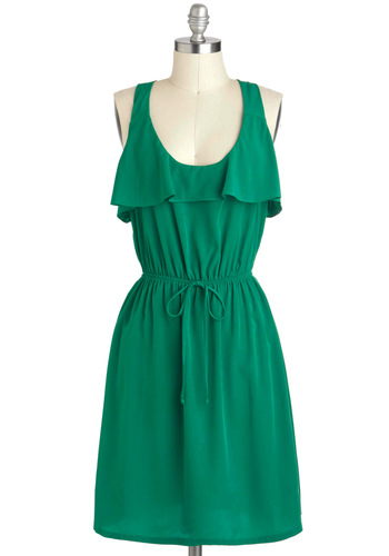 Arboretum Stroll Dress - Green, Solid, Ruffles, Casual, A-line, Racerback, Scoop
