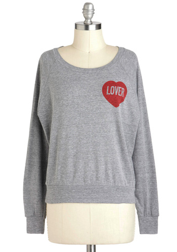 Not a Hater Top by MNKR - Grey, Casual, Long Sleeve, Jersey, Cotton, Red, Short, Crew, Travel