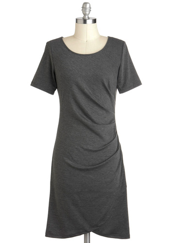 Events Management Dress - Grey, Solid, Shift, Short Sleeves, Mid-length, Ruching, Work