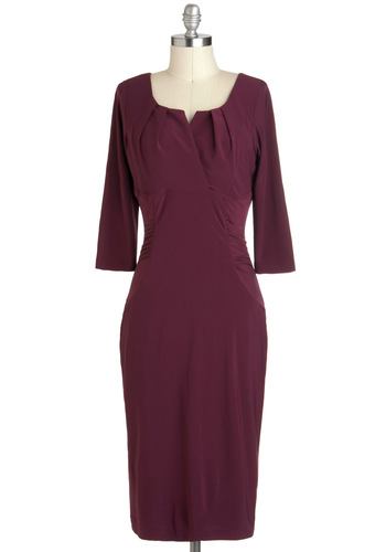 Wine Country Singer Dress - Long, Red, Solid, Ruching, Work, Cocktail, Sheath / Shift, 3/4 Sleeve, Fall