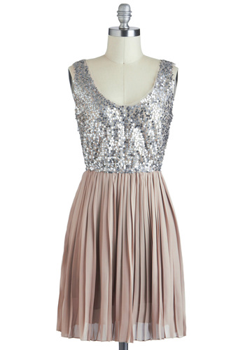 Ore My Darling Dress by BB Dakota - Tan / Cream, Silver, Pleats, Sequins, Mid-length, Party, Holiday Party, A-line, Sleeveless