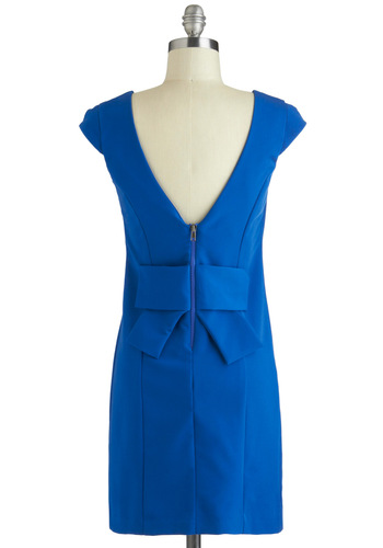 Sapphire So Good Dress - Blue, Solid, Shift, Cap Sleeves, Short, Bows, Exposed zipper, Vintage Inspired, Mod, Party