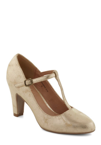 Everything's Aglow Heel in Gold - Gold, Solid, Mid, Glitter, Holiday Party, 20s, Graduation, Variation, Good, T-Strap, Top Rated
