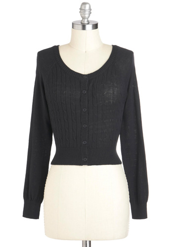 At a Trot Cardigan - Cotton, Short, Black, Solid, Buttons, Knitted, Long Sleeve, Casual