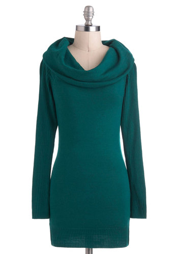 Play It Cowl Sweater - Mid-length, Green, Solid, Casual, Long Sleeve, Cowl, Sweater Dress