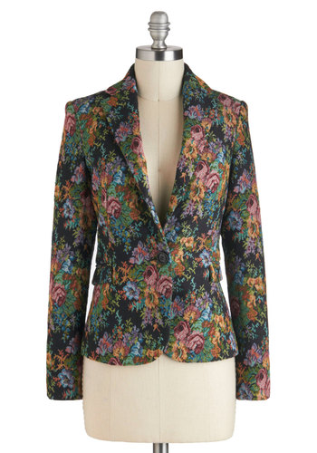 Tapes-tres Chic Blazer - Mid-length, 1, Multi, Floral, Work, Daytime Party, Long Sleeve, Fall