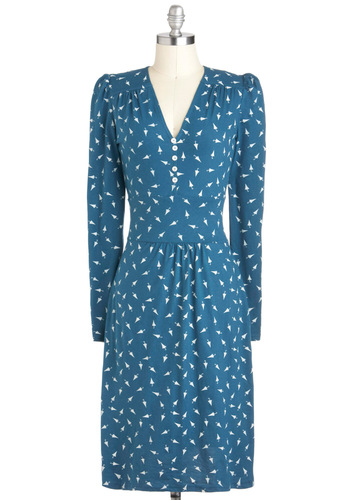 Midnight Maniac Dress by People Tree - Blue, Novelty Print, Casual, Long Sleeve, V Neck, Cotton, Long, White, Buttons, Shift, International Designer