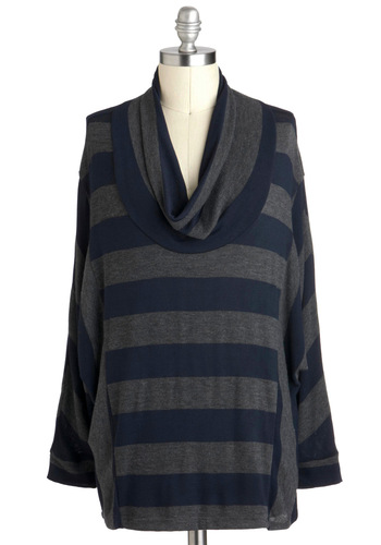 On Cowl Style Top in Plus Size - Blue, Grey, Stripes, Casual, Long Sleeve, Cowl, Fall, Travel