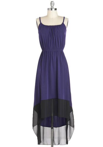 Birthday Getaway Dress - Purple, Black, Spaghetti Straps, High-Low Hem, Long, Braided, Party