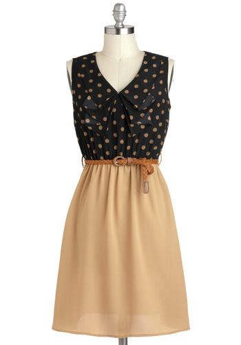 A Slice of Coffee Cake Dress - Polka Dots, Ruffles, Twofer, Sleeveless, V Neck, Mid-length, Tan / Cream, Black, Work, Belted