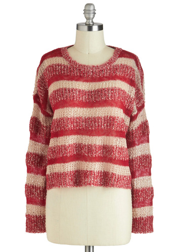 Peppermint Latte Sweater - Short, Red, Tan / Cream, Stripes, Knitted, Casual, Long Sleeve, Winter