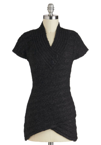 Stick Around Sweater in Charcoal - Mid-length, Black, Solid, Buttons, Knitted, Casual, Short Sleeves