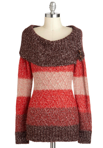 Jen's Tender Love and Wear Sweater in Autumn - Mid-length, Pink, Brown, Solid, Casual, Long Sleeve, Cowl, Red, Knitted, Fall