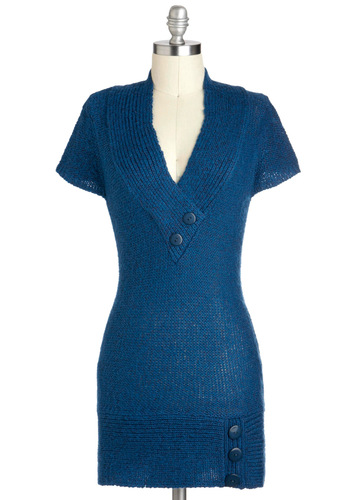 Stay Awhile Sweater in Blue - Long, Blue, Solid, Buttons, Knitted, Casual, Short Sleeves, V Neck