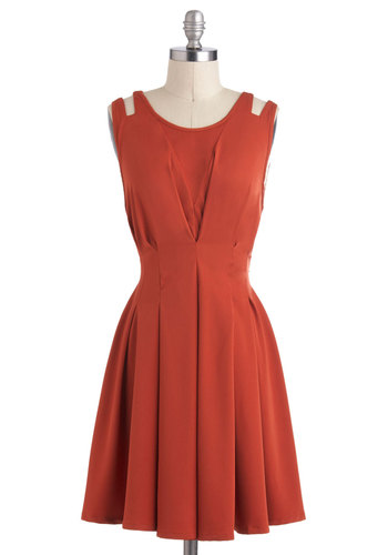 Awe in Auburn Dress - Orange, Solid, Cutout, Pleats, A-line, Sleeveless, Mid-length, Exposed zipper, Fall, Party