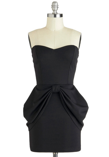 Tales over Cocktails Dress - Black, Solid, Cocktail, Strapless, Sweetheart, Jersey, Short, Bows, Exposed zipper, Peplum