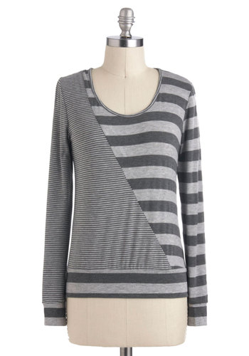 Seeing Stripes Top - Grey, Stripes, Casual, Long Sleeve, Mid-length