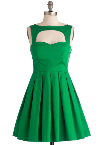 Last Slow Dance Dress in Green - Short, Cotton, Green, Solid, Cutout, Pleats, Party, Sleeveless, Sweetheart, Holiday Party, Best Seller, Fit & Flare, Variation