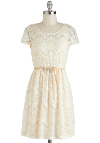 Need I Crochet More? Dress - Cream, Solid, Lace, Belted, Casual, A-line, Mid-length, Cap Sleeves, Graduation
