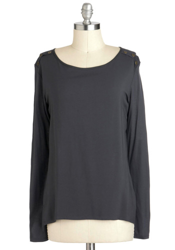 Shade and Shadow Top - Grey, Solid, Buttons, Casual, Long Sleeve, Mid-length, Travel