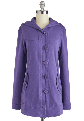 Hyacinth Solo Hoodie - Purple, Solid, Pockets, Casual, Hoodie, Long Sleeve, Long, 1, Buttons