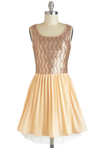Bronze Ambition Dress - Tan / Cream, Party, A-line, Sleeveless, Mid-length, Pink, Sequins, Twofer, Pleats, Holiday Party
