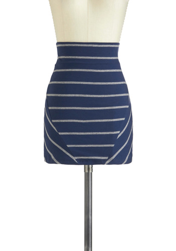 Casual for Cocktails Skirt - Jersey, Cotton, Short, Blue, Grey, Stripes, Mini, Girls Night Out