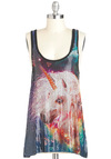 Whimsical Whinny Top - Multi, Sequins, Casual, Tank top (2 thick straps), Print with Animals, Scoop, Long