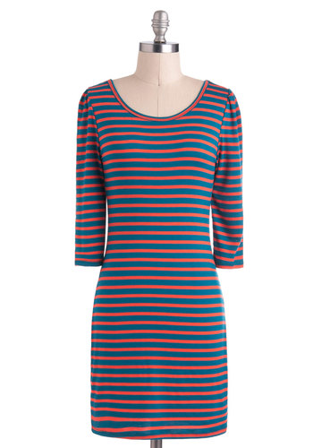 Say Yes to Stripes Dress - Stripes, Casual, Sheath / Shift, Short, Orange, Blue, 3/4 Sleeve, Travel