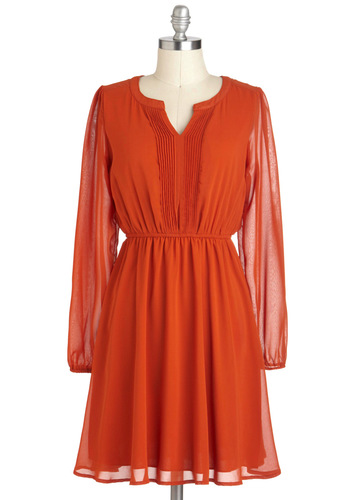 Take a Juice Break Dress - Mid-length, Orange, Solid, Long Sleeve, Party, Fall
