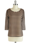 Can't Stripe Loving You Top - Tan / Cream, Stripes, 3/4 Sleeve, Sheer, Mid-length, Black, Casual, Tis the Season Sale