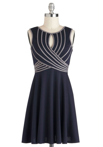 Swoops and Dreams Dress - Short, Blue, Grey, Party, A-line, Sleeveless, Stripes