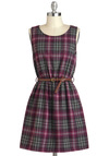 Library Show Dress - Plaid, Belted, Casual, A-line, Tank top (2 thick straps), Short, Grey, Scholastic/Collegiate, Fall, Purple