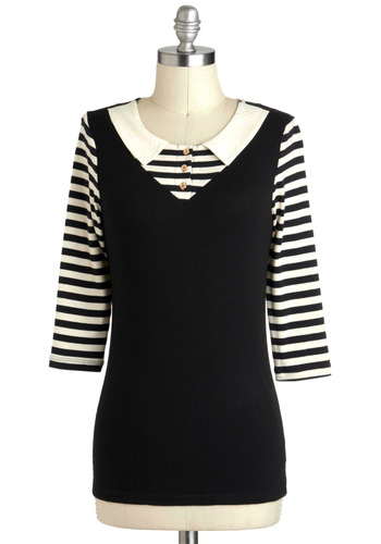 Can't Stripe, Won't Stop Top - Mid-length, Cotton, Black, White, Solid, Buttons, Peter Pan Collar, Long Sleeve, Casual