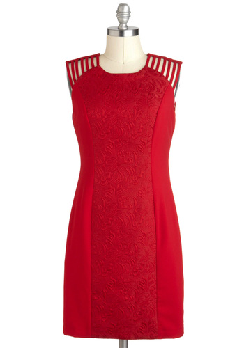 Always On My Carmine Dress - Red, Cocktail, Sheath / Shift, Sleeveless, Mid-length, Solid, Cutout, Pinup, Holiday Party, Crew