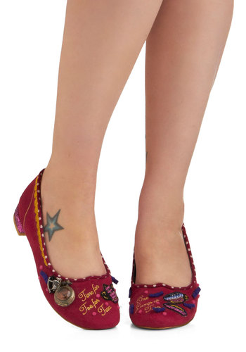 Decisions at Dawn Shoe by Irregular Choice - Red, Multi, Novelty Print, Party, Casual, Luxe, Statement, Quirky, Flat