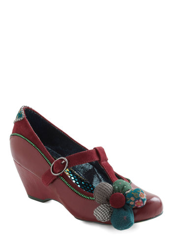 Keep It Crafty Heel by Irregular Choice - Red, Multi, Green, Blue, Brown, Tan / Cream, Flower, Polka Dots, Houndstooth, Mid, Leather, Party, Work, Vintage Inspired, Luxe, International Designer, Buckles, Patch, Best, Mary Jane, T-Strap
