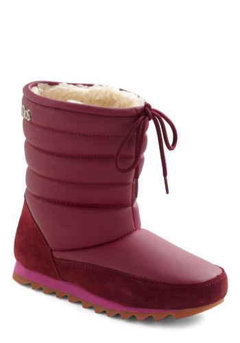 Snow Bordeaux Boot - Leather, Red, Flat, Holiday Sale
