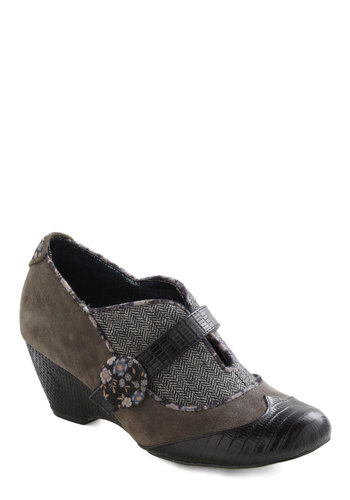 Charcoal or Texture Me Heel by Irregular Choice - Brown, Multi, Floral, Buttons, Mid, Leather, Work, Vintage Inspired, Luxe, Fall, Wedge, International Designer