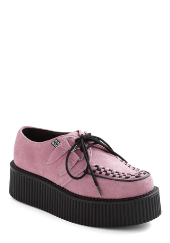 In Cahoots with Cute Flatform - Pink, Black, Low, Platform, Lace Up, Wedge, Vintage Inspired, 90s