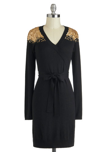 Never a Gold Shoulder Dress - Short, Black, Gold, Sequins, Belted, Holiday Party, Long Sleeve, V Neck