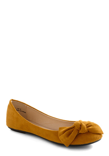 All Sapphired Up Flat in Citron - Yellow, Solid, Bows, Flat, Casual