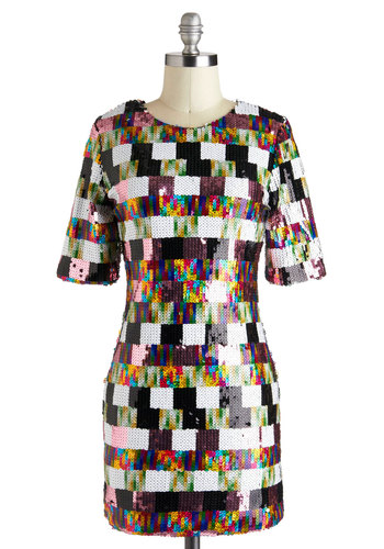 Good, Gleam Fun Dress - Multi, Multi, Print, Sequins, Party, Vintage Inspired, Shift, Short Sleeves, Mid-length, Holiday Party, 80s