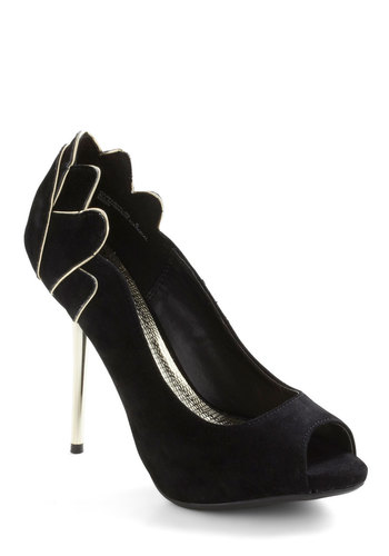 Exquisite Entrance Heel in Black - Black, Scallops, Peep Toe, High, Luxe, Special Occasion, Holiday Party, 20s, Variation